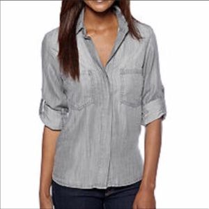 Cloth and stone XS chambray button down top sz XS